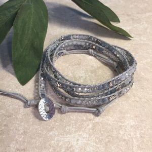Jewelry - Gray silver blue woven wrap beaded bracelet